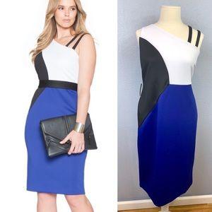 Eloquii colorblock one Shoulder midi dress 22